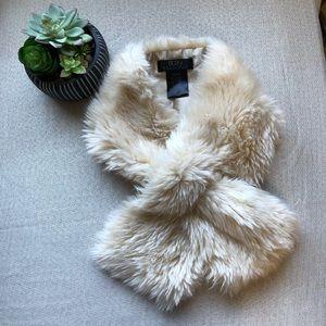 BCBG Cream Faux Fur Collar/Neck Wrap w/ Slit